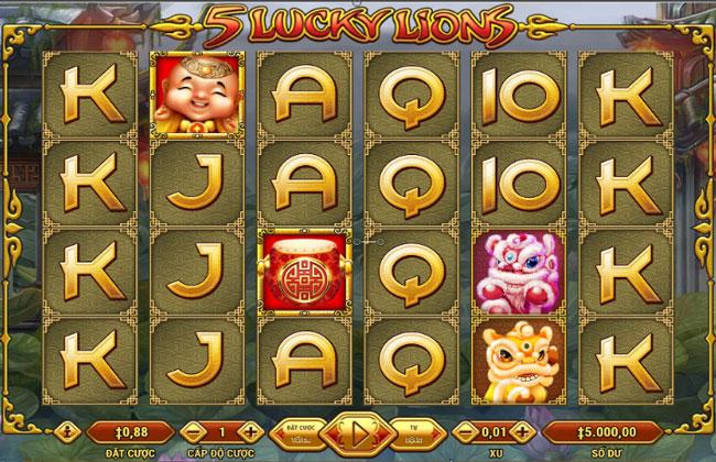 Chơi game đổi thưởng ăn tiền thật cùng 5 Lucky Lions