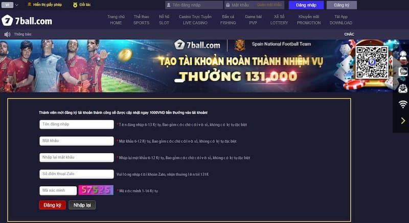 Form đăng ký tài khoản Casino 7ball