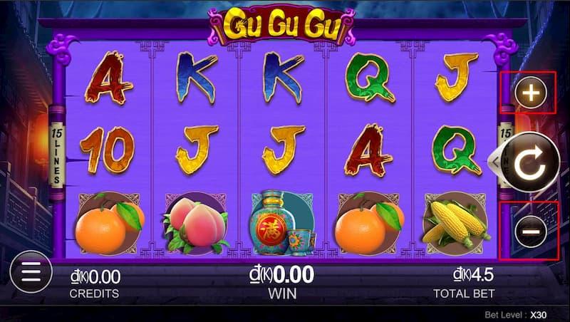 Cách chọn mức cược Slot Game Gu Gu Gu