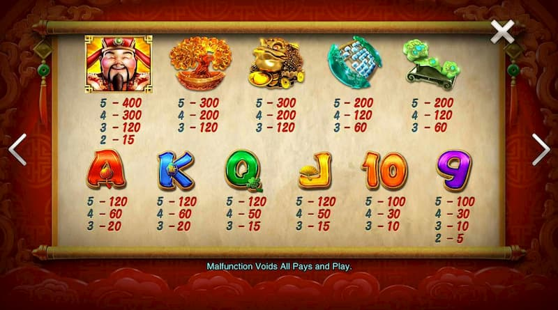Cách tính điểm slot game Facaishen - Thần may mắn