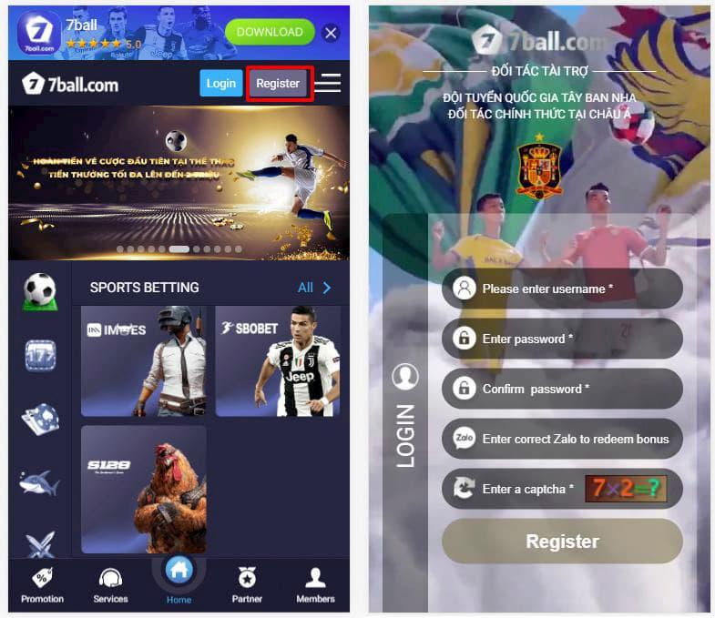 Đăng ký tài khoản 7ball để có thể chơi được Slot Game Lion Dance - Múa Sư Tử