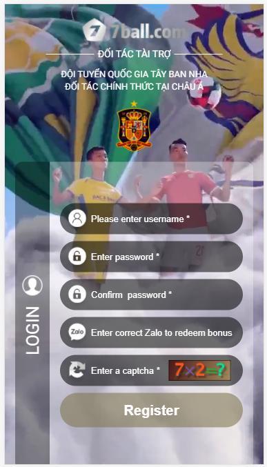 Form đăng ký thành viên Casino 7ballBET