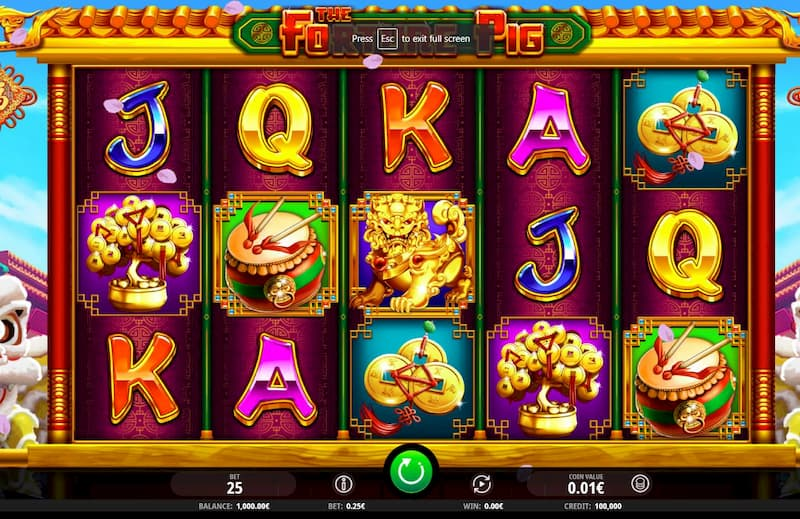 Giao diện cực kỳ bắt mắt trong game Fortune Pig