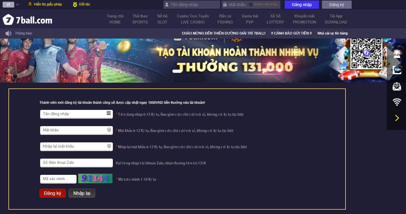 Giao diện đăng ký tài khoản 7ball