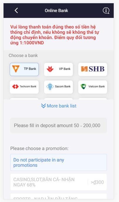 Hướng dẫn gửi tiền 7ball bằng hình thức Internet Banking