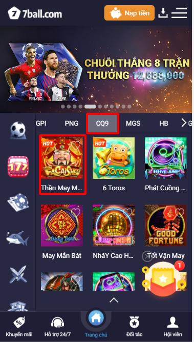 Hướng dẫn tìm và truy cập Game Thần may mắn - Facaishen tại sảnh CQ9 - Casino 7ball