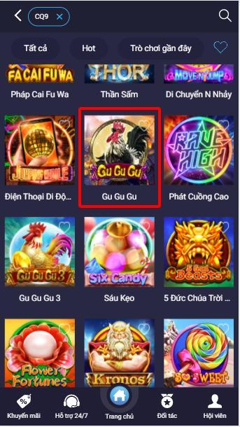 Slot Game Gu Gu Gu trong sảnh CQ9 tại Casino 7ball