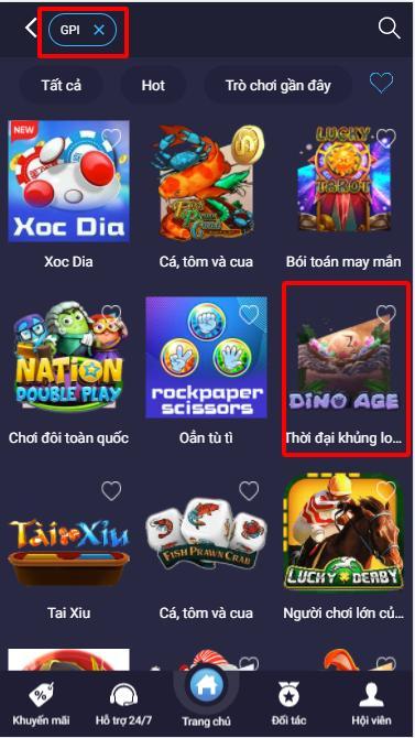 Tìm game Dino Age - Thời đại Khủng long trong sảnh GPI - Casino 7ball