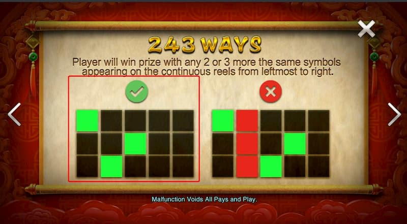 Trường hợp thắng trong slot game Facaishen