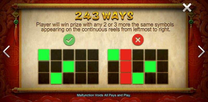 Ví dụ cho trường hợp thắng và không thắng trong game Facaishen - Thần may mắn
