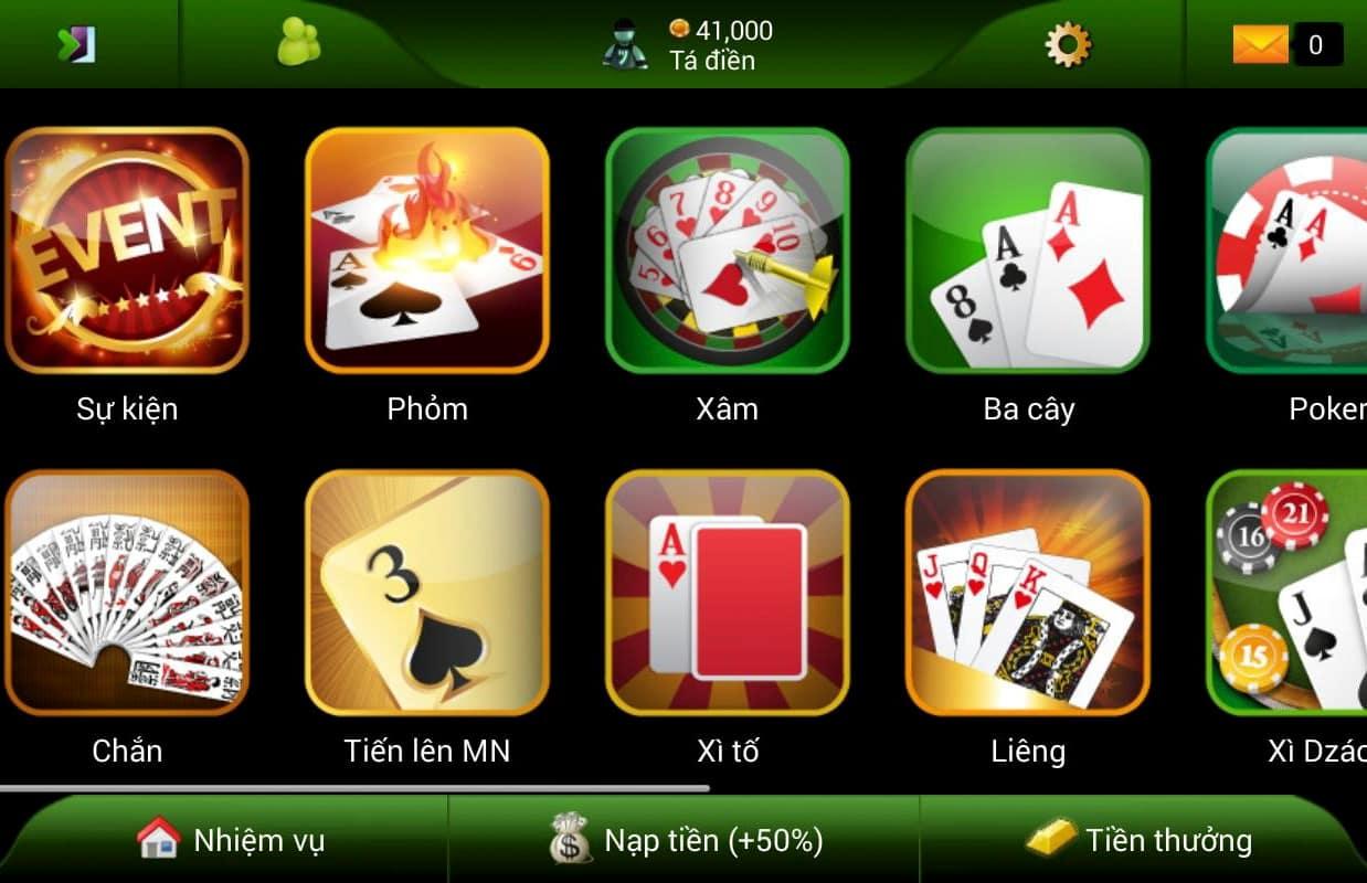 Một số game bài trong Bigkool game